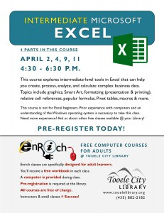 Intermediate Microsoft Excel. Part 1 @ Tooele City Library | Tooele | Utah | United States