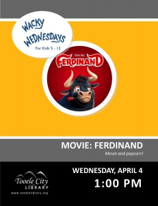 Wacky Wednesday: Ferdinand Movie @ Tooele City Library | Tooele | Utah | United States