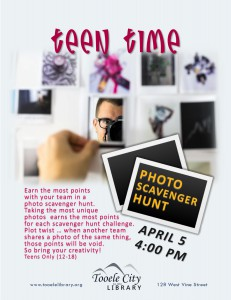 Teen Time: Photo Scavenger Hunt @ Tooele City Library | Tooele | Utah | United States