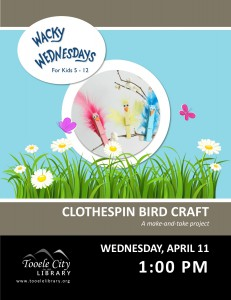 Wacky Wednesday: Clothes Pin Bird Craft @ Tooele City Library | Tooele | Utah | United States