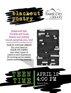 Teen Time: Blackout Poetry @ Tooele City Library | Tooele | Utah | United States
