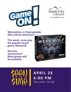Teen Time: Werewolf (Game) @ Tooele City Library | Tooele | Utah | United States