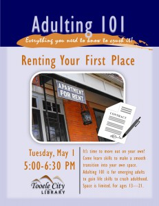 Adulting 101: Renting Your First Apartment @ Tooele City Library | Tooele | Utah | United States