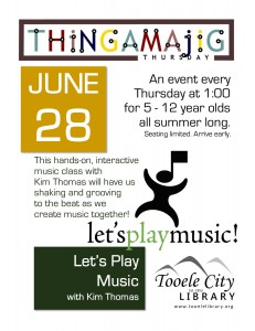 Thing-A-Ma-Jig Thursday: Let's Play Music @ Tooele City Library | Tooele | Utah | United States