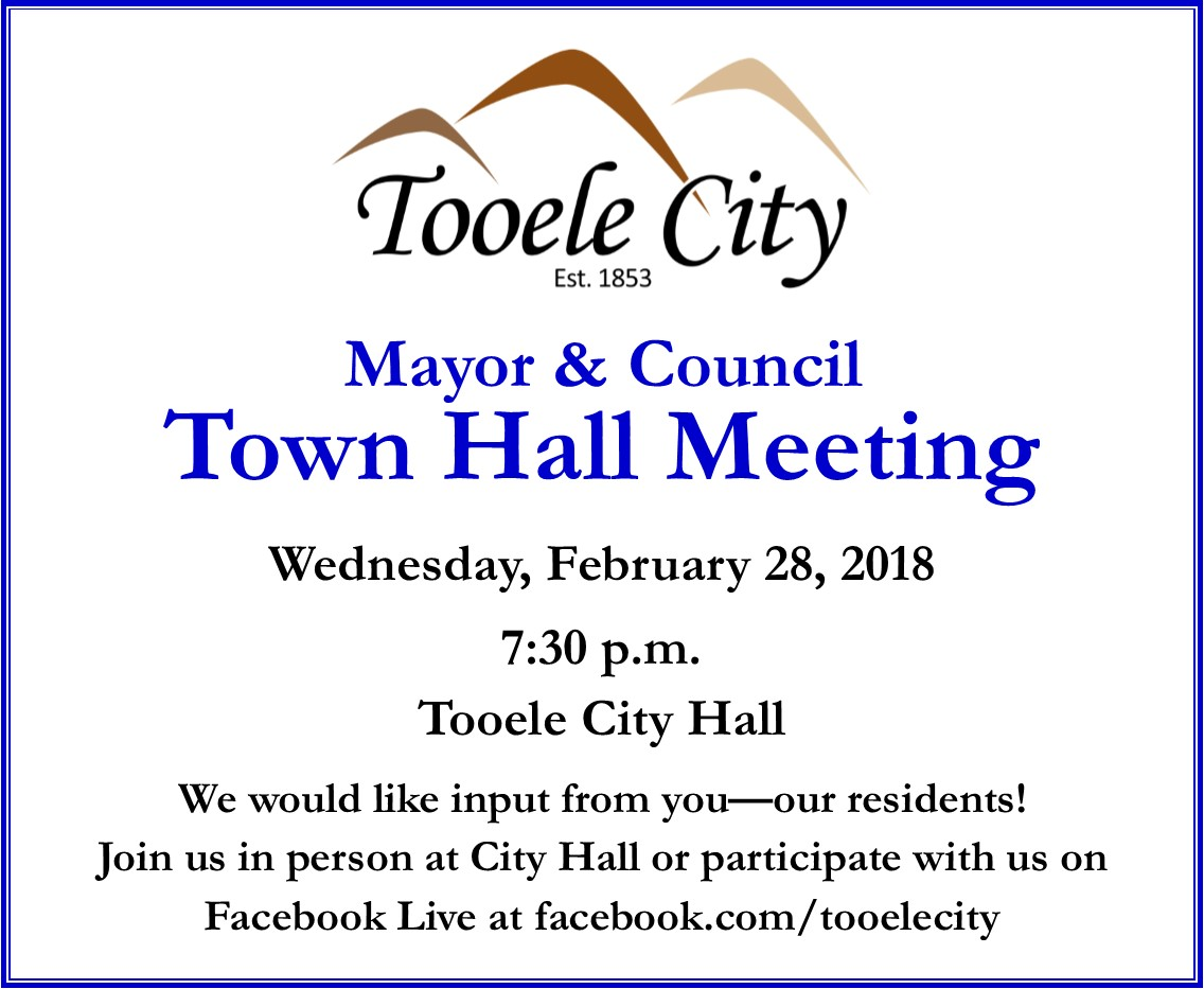 Town Hall Meeting with Mayor Winn and the Tooele City Council @ Tooele City Hall, Council Chambers | Tooele | Utah | United States
