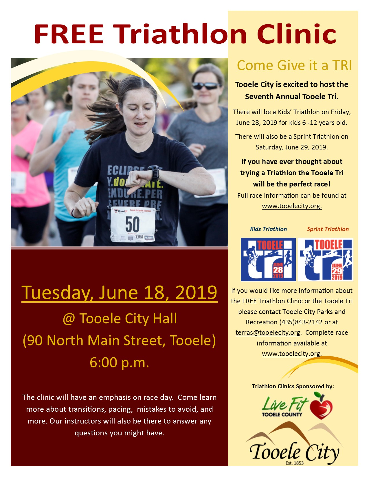 Free Triathlon Clinic 2019 @ Tooele City Hall | Tooele | Utah | United States