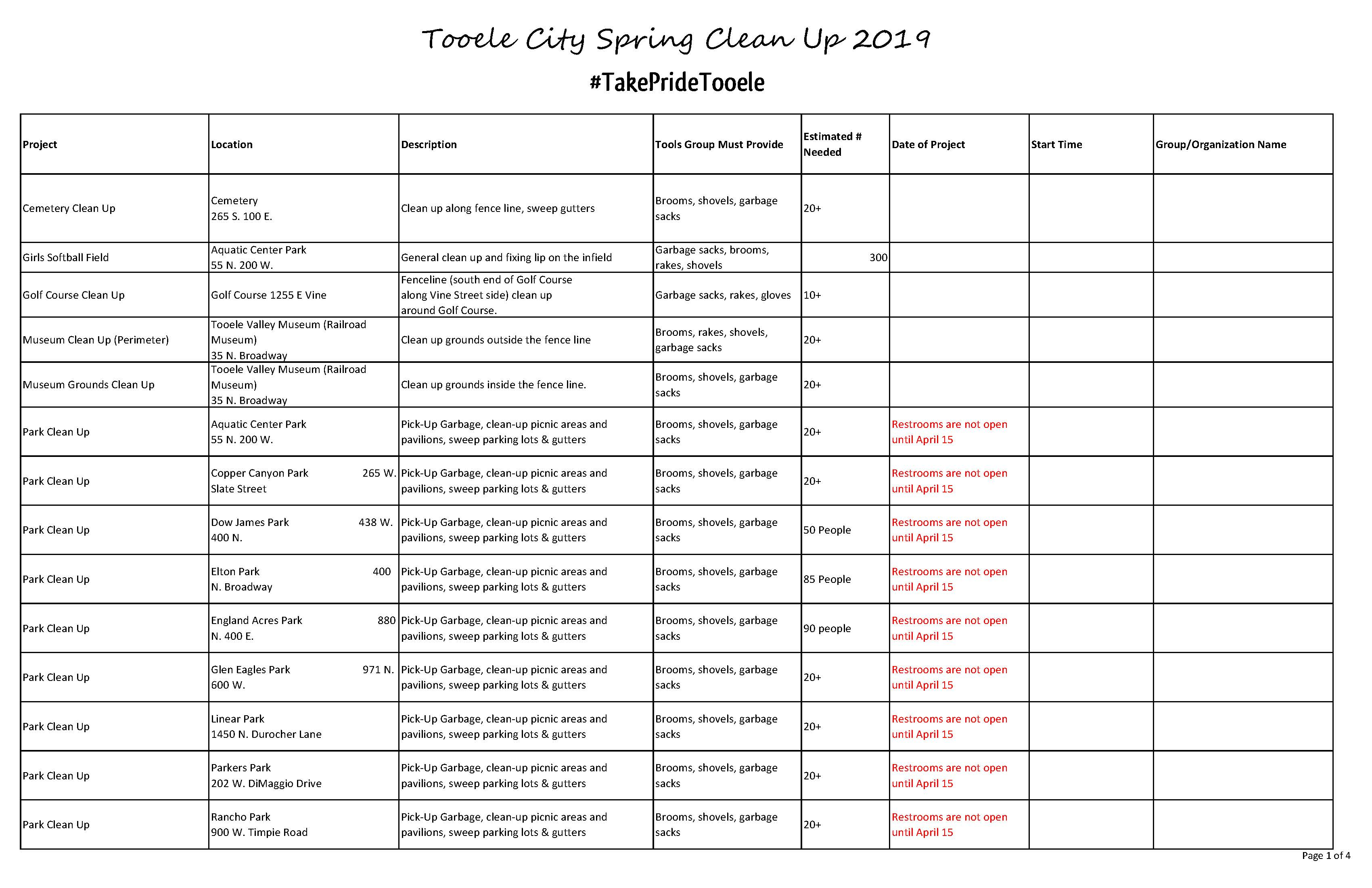 Website - List of Projects for Spring Clean Up 2019_Page_1