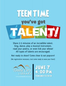 Teen Time: Talent Show @ Tooele City Library | Tooele | Utah | United States