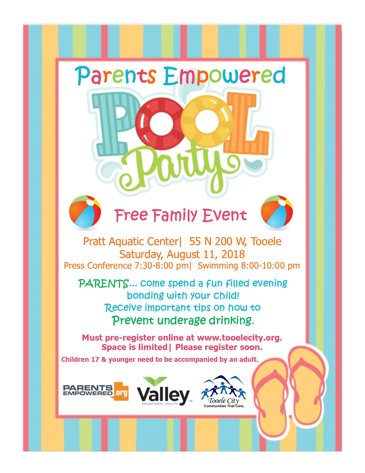 Parents Empowered POOL PARTY! @ Pratt Aquatic Center | Tooele | Utah | United States