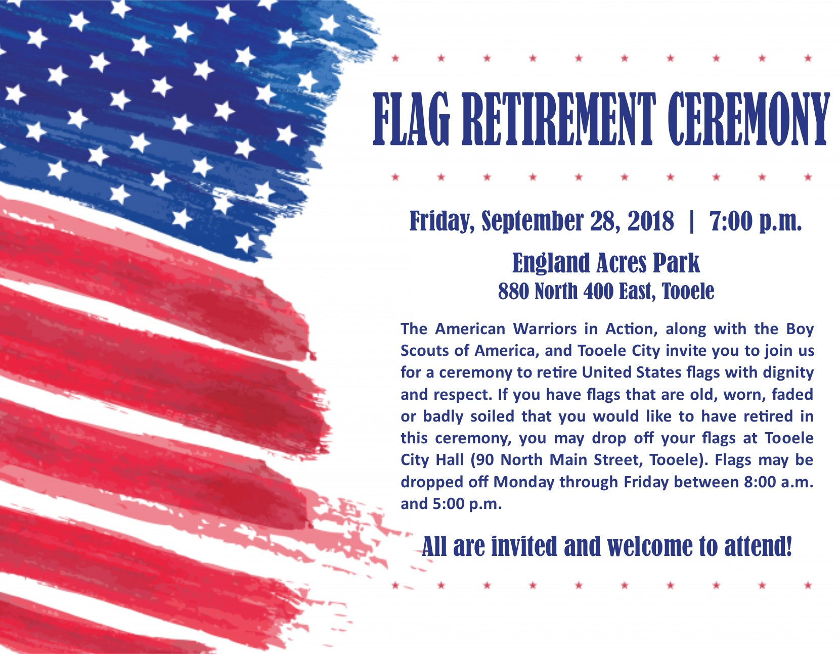 Flag Retiring Ceremony @ England Acres Park | Tooele | Utah | United States