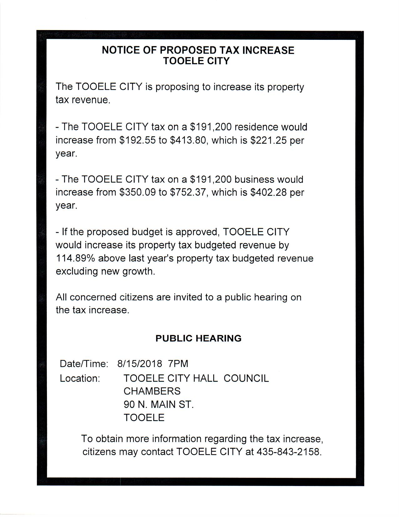 PUBLIC HEARING:  Notice of Proposed Tax Increase Tooele City @ Tooele City Hall | Tooele | Utah | United States