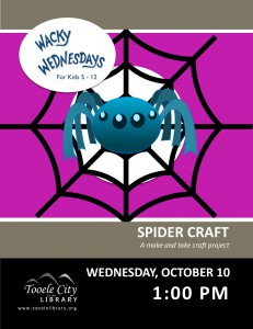 Spider Craft. Wacky Wednesday @ Tooele City Library | Tooele | Utah | United States