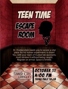 Teen Time: Escape Room @ Tooele City Library | Tooele | Utah | United States