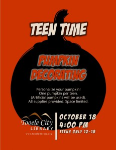 Teen Time: DIY Personalized Pumpkins @ Tooele City Library | Tooele | Utah | United States