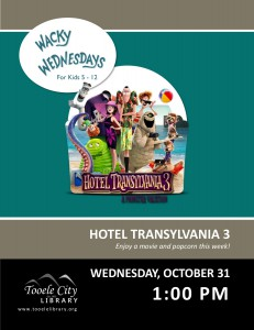 Hotel Transylvania 3 Movie. Wacky Wednesday @ Tooele City Library | Tooele | Utah | United States