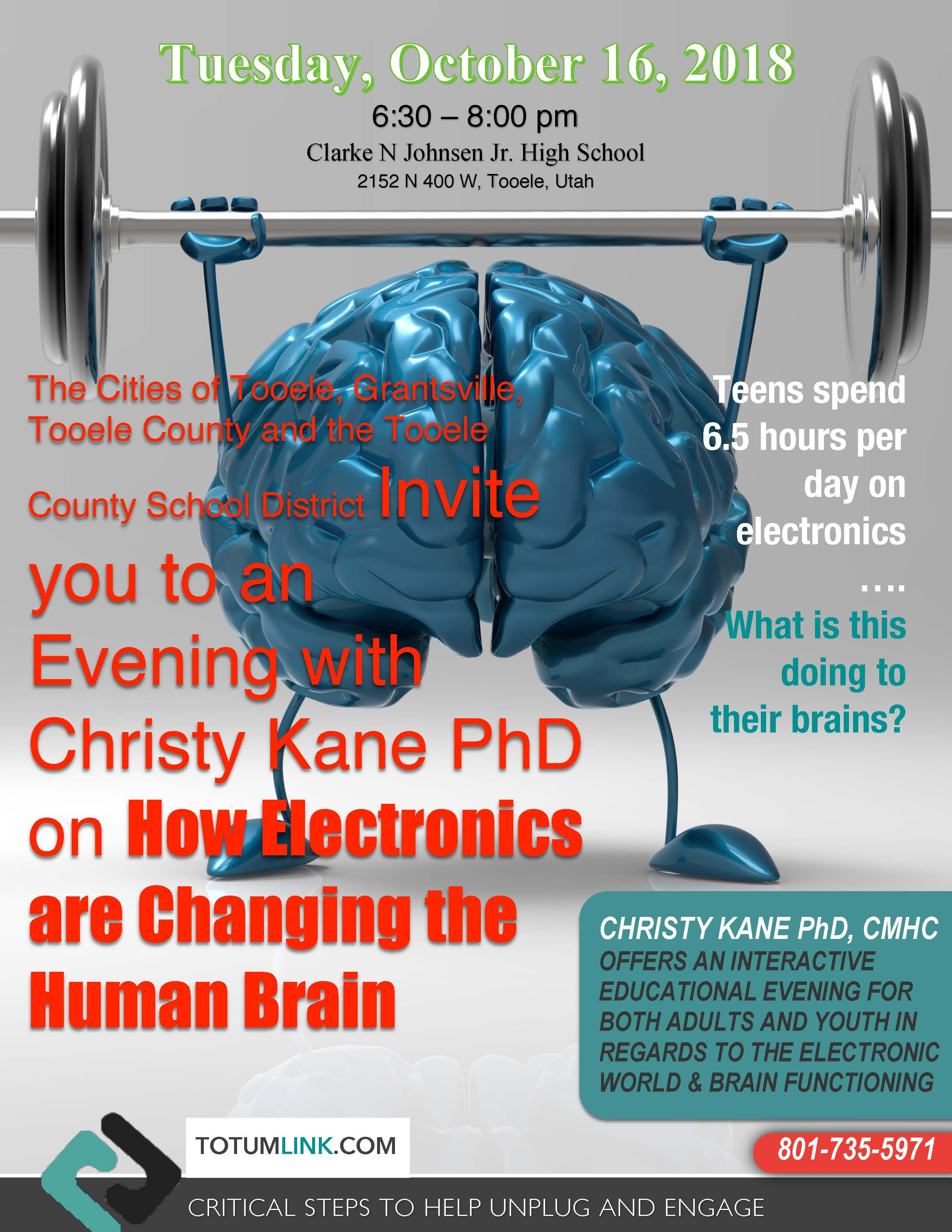 An Evening with Christy Kane PhD:  How Electronics are Changing the Human Brain @ Clarke N Johnsen Jr. High School | Tooele | Utah | United States