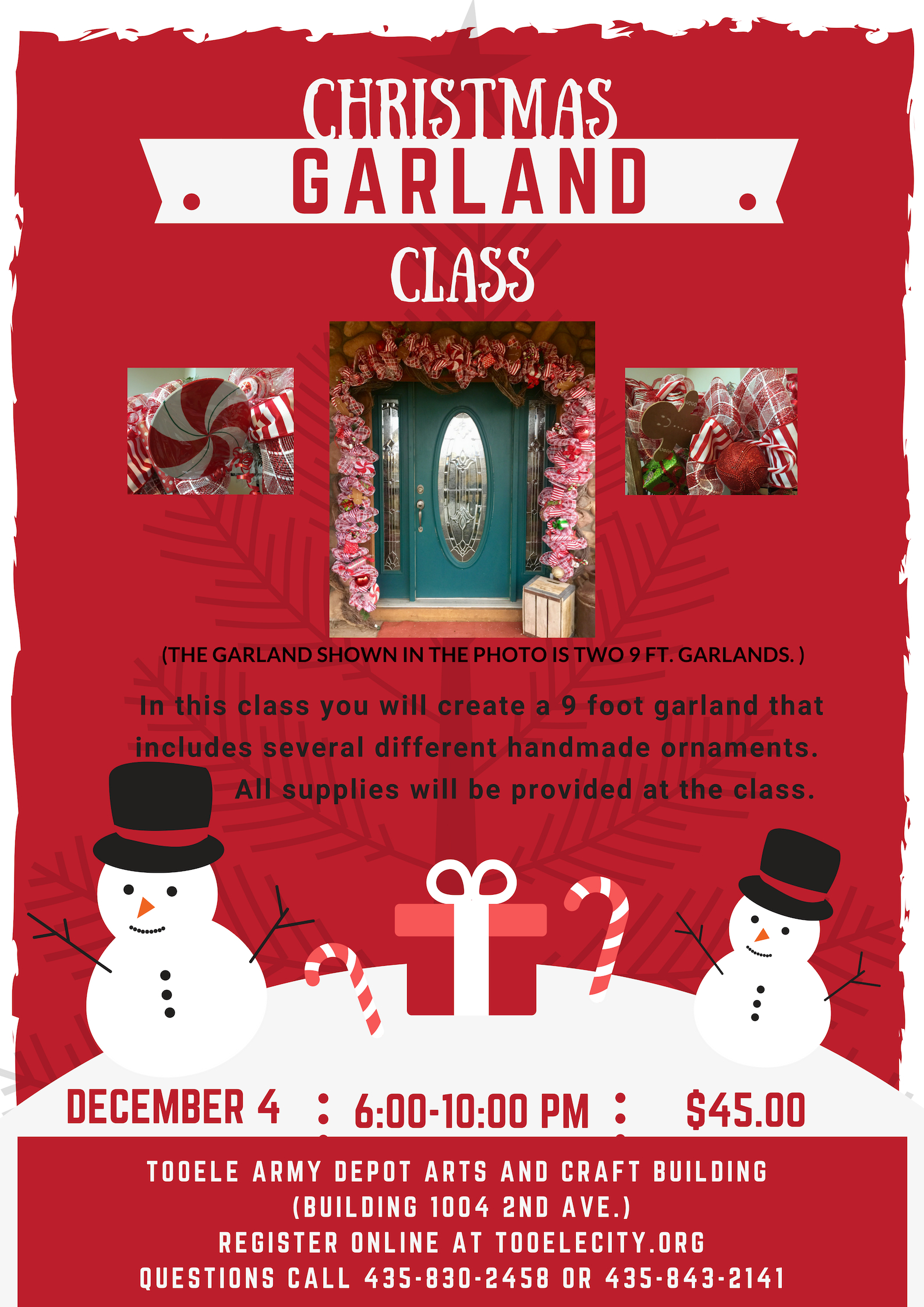 Christmas Garland Class @ Tooele Army Depot Arts & Craft Center (Building 1004 2nd Avenue) | Tooele | Utah | United States