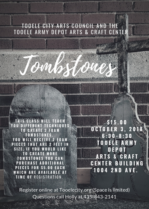 Tombstone Carving Class @ Tooele Army Depot Arts & Craft Center (Building 1004 2nd Avenue) | Tooele | Utah | United States