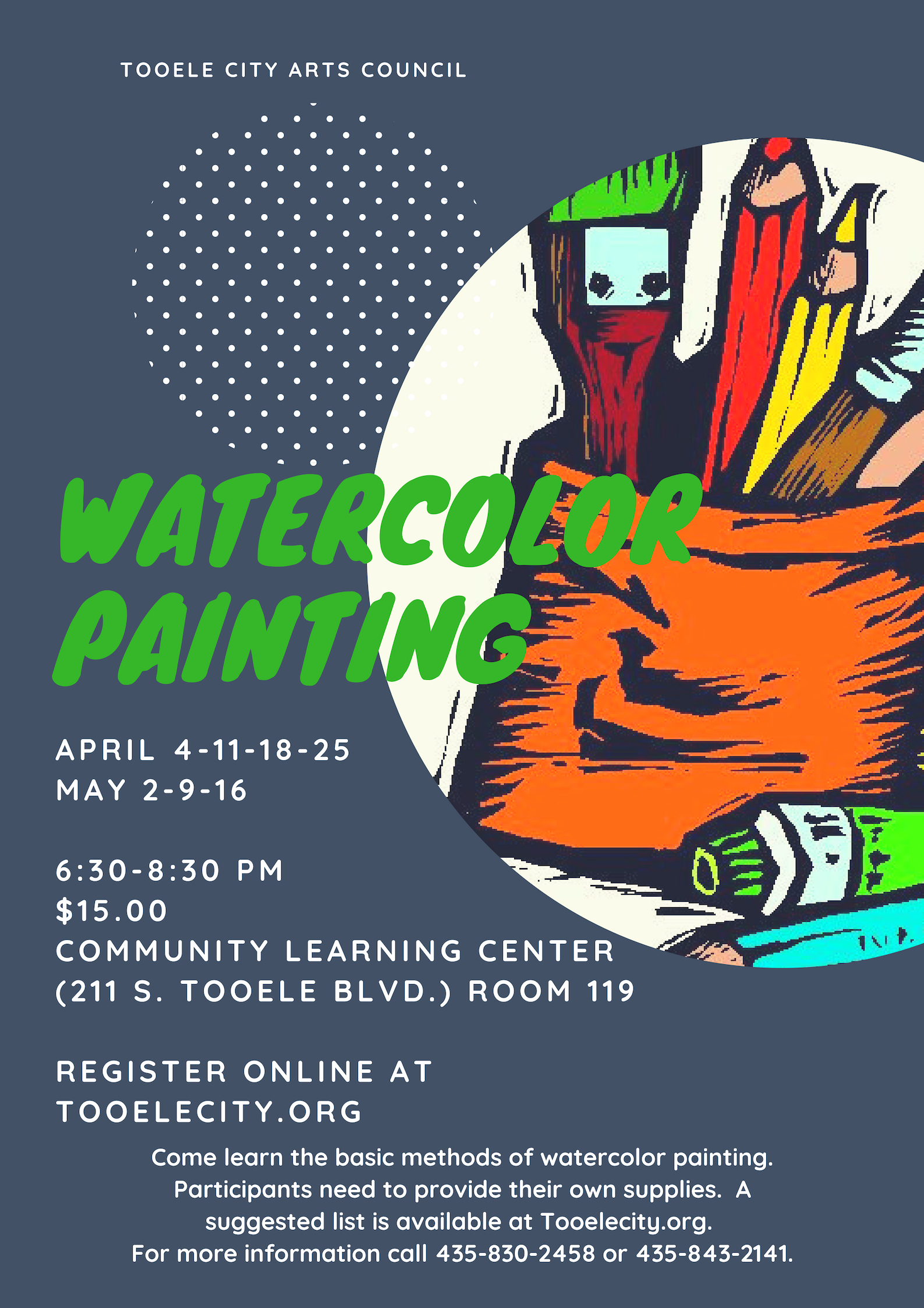 Watercolor Painting 2019:  April 4 - May 16, 2019