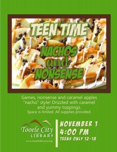 Teen Time: Nachos and Nonsense @ Tooele City Library | Tooele | Utah | United States