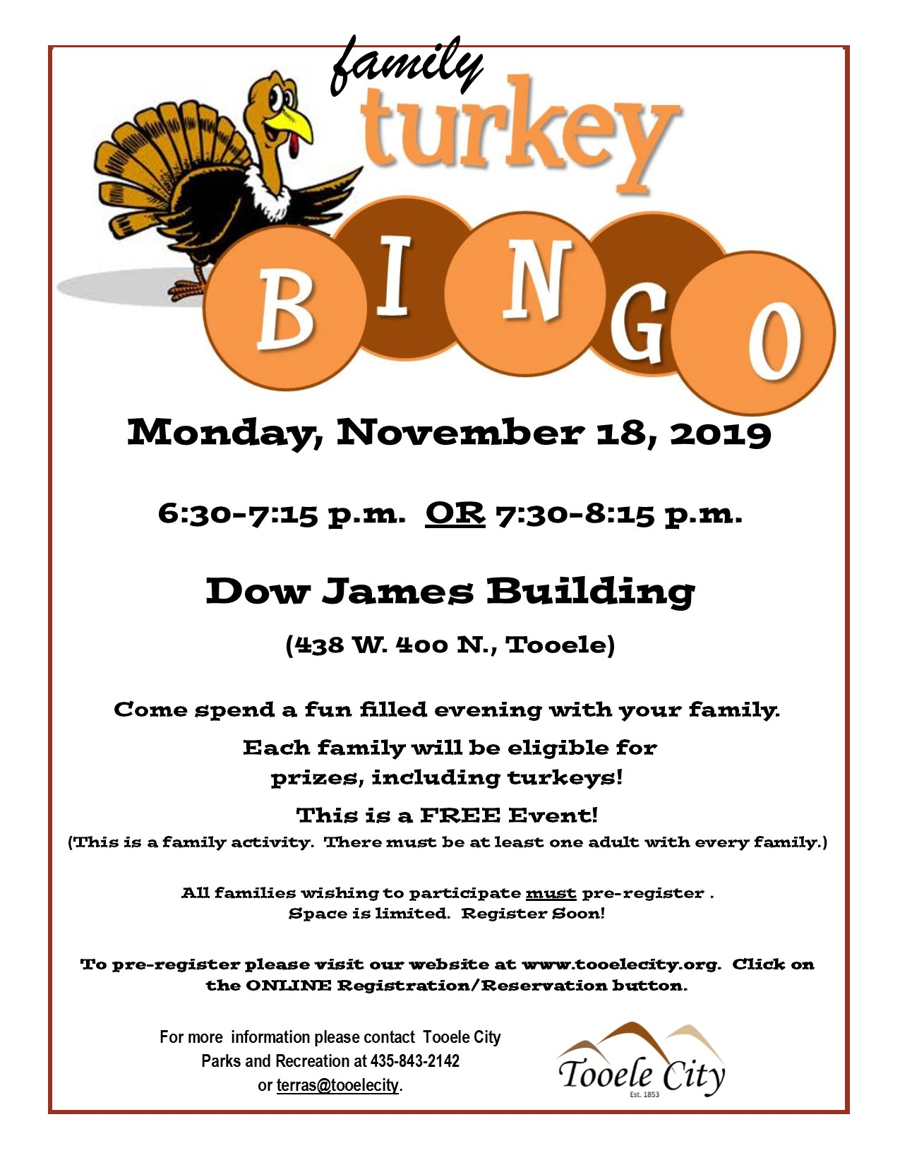 Turkey Bingo - A FREE Family Event! @ Dow James Building | Tooele | Utah | United States