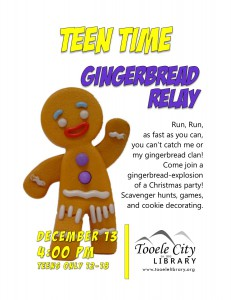 Teen Time: Gingerbread Relay @ Tooele City Library | Tooele | Utah | United States