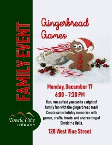 Family Event: Gingerbread Games @ Tooele City Library | Tooele | Utah | United States