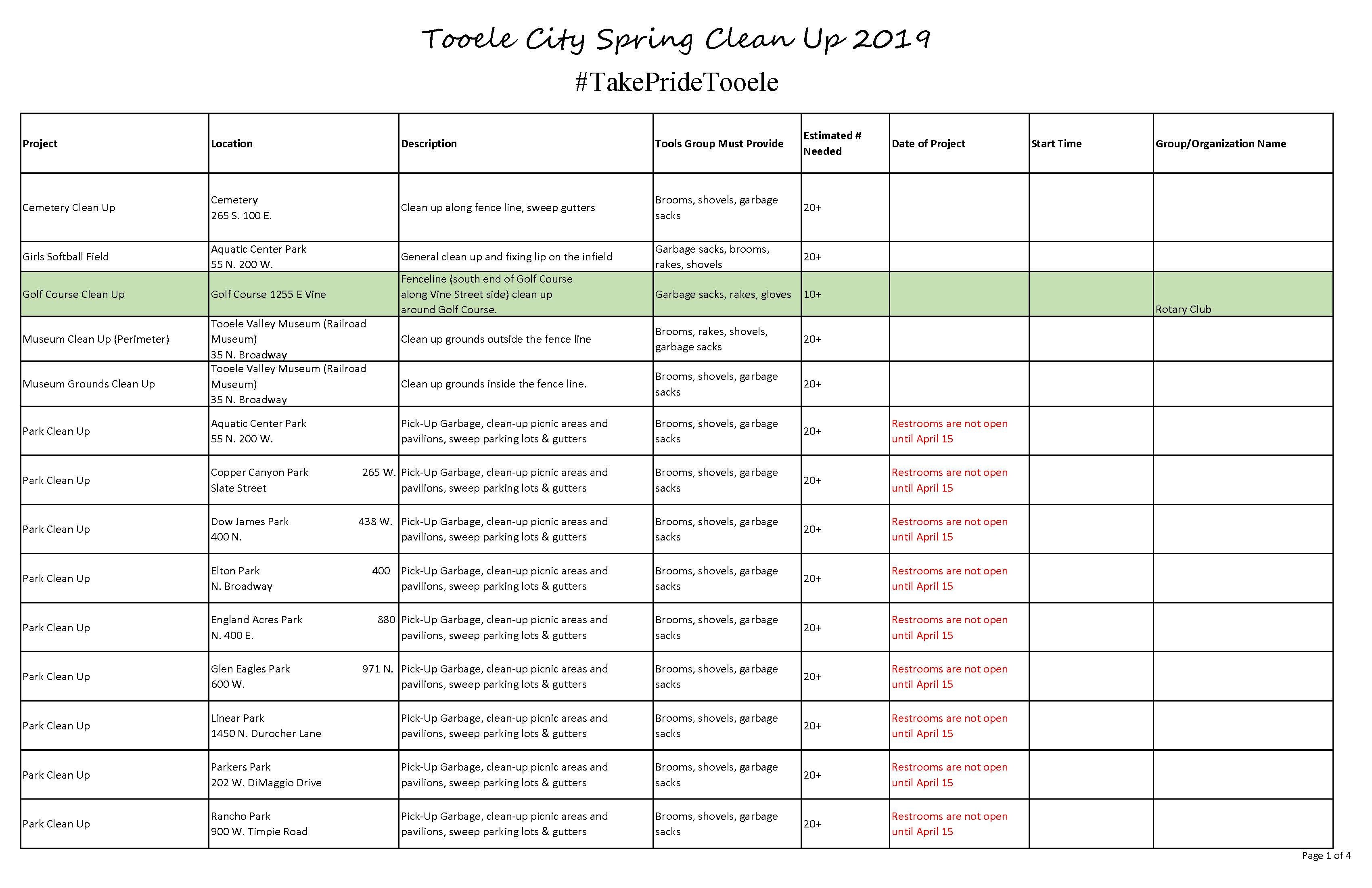 List of Projects for Spring Clean Up 2019 Updated 03-12-19