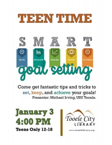 Teen Time: Goal Setting @ Tooele City Library | Tooele | Utah | United States