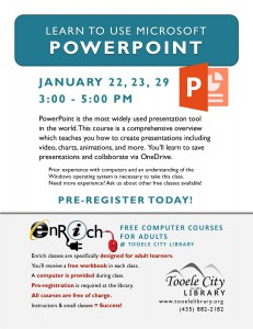 Introduction to PowerPoint (3 parts) @ Tooele City Library | Tooele | Utah | United States