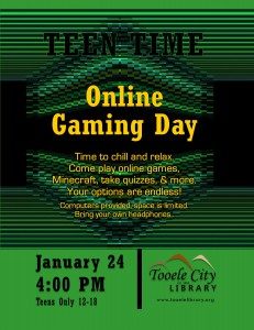 Teen Time: Online Gaming Day @ Tooele City Library | Tooele | Utah | United States