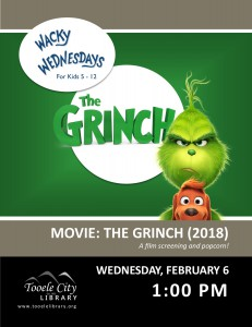 Canceled - Movie: The Grinch (Wacky Wednesday) @ Tooele City Library | Tooele | Utah | United States