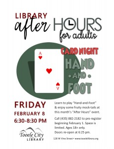 Card Party: Hand and Foot (After-Hours for Adults) @ Tooele City Library | Tooele | Utah | United States