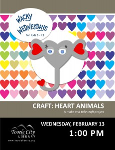Craft: Valentine Animals (Wacky Wednesday) @ Tooele City Library | Tooele | Utah | United States
