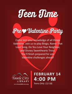 Teen Time: Pre-Valentine Party @ Tooele City Library | Tooele | Utah | United States