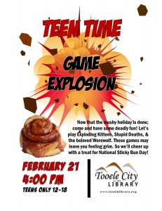 Teen Time: Game Explosion @ Tooele City Library | Tooele | Utah | United States