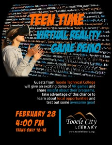 Teen Time: VR Game Demo with Tooele Technical College @ Tooele City Library | Tooele | Utah | United States