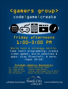 Gamer's Group. Booster: Coding Club @ Tooele City Library | Tooele | Utah | United States