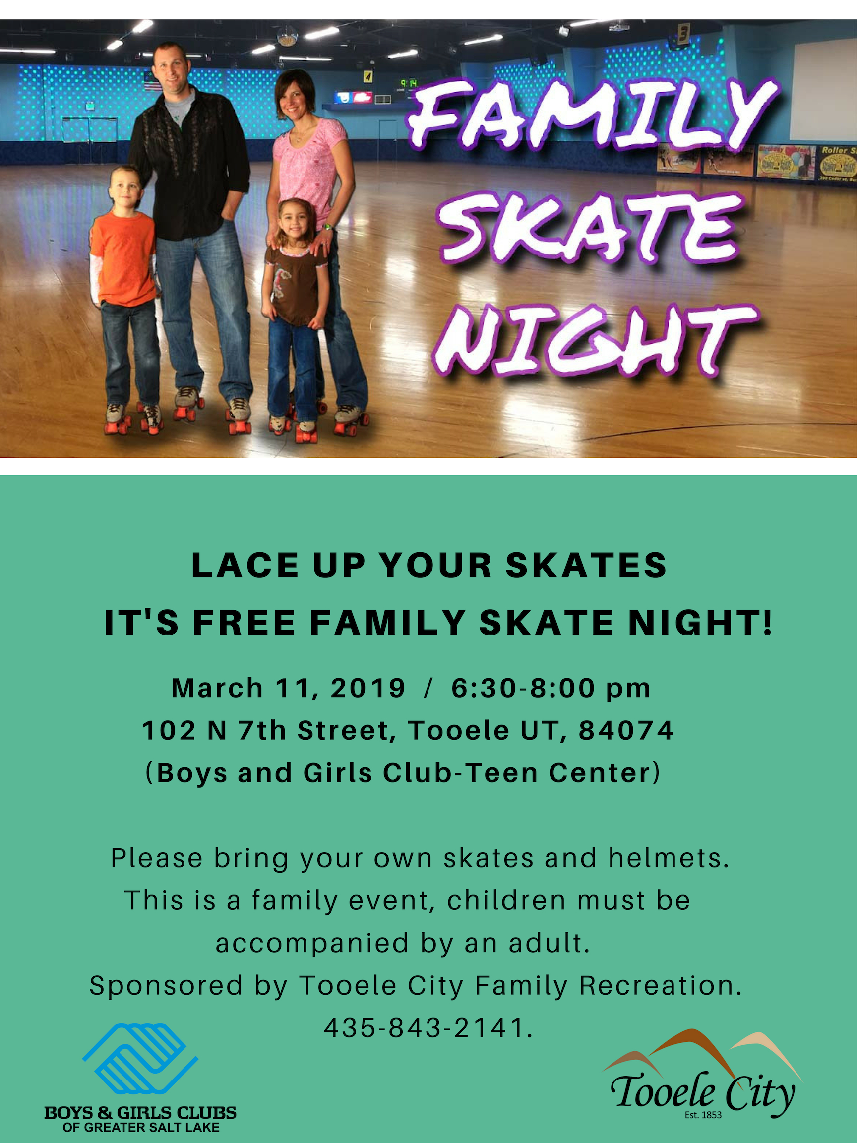 Free Family Skate Party March 2019