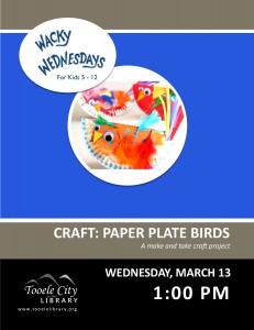 Craft: Paper Plate Birds (Wacky Wednesday) @ Tooele City Library | Tooele | Utah | United States