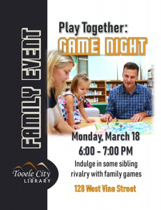 Family Event: Game Night @ Tooele City Library | Tooele | Utah | United States