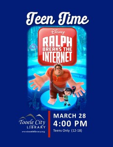 Teen Movie: Ralph Breaks the Internet @ Tooele City Library | Tooele | Utah | United States
