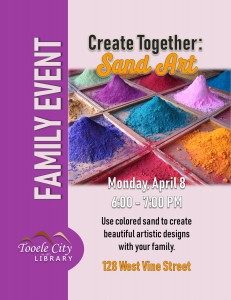 Family Craft: Sand Art @ Tooele City Library | Tooele | Utah | United States