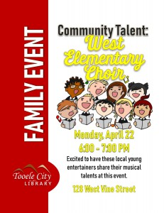 Family Event: West Elementary Choir @ Tooele City Library | Tooele | Utah | United States
