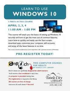 Free Class: Windows 10 (3 Parts) @ Tooele City Library | Tooele | Utah | United States