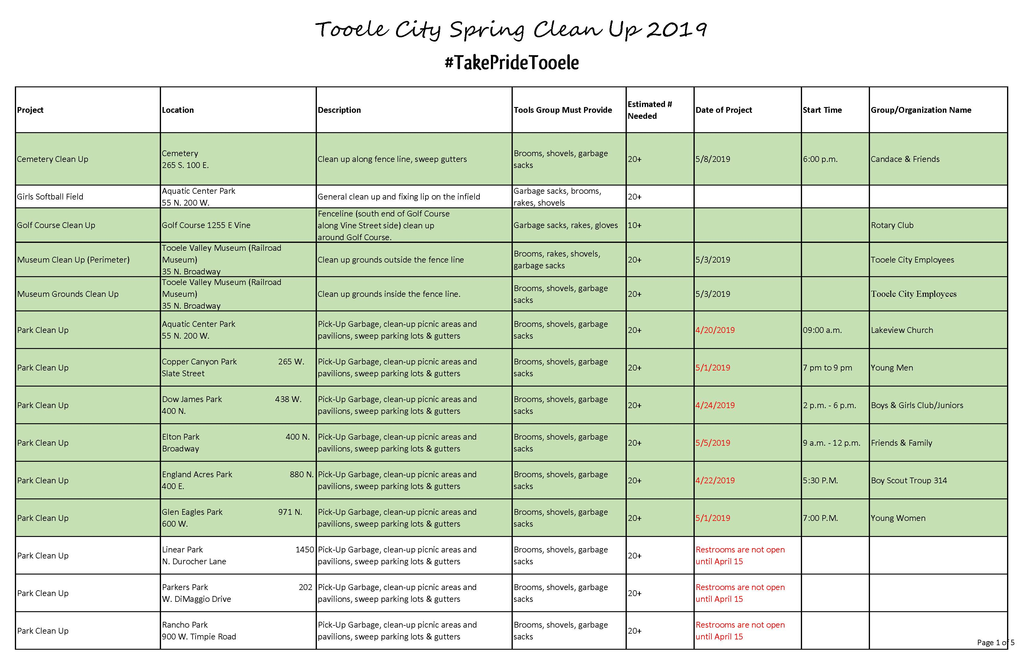List of Projects for Spring Clean Up 2019 Updated 05-01-19_Page_1