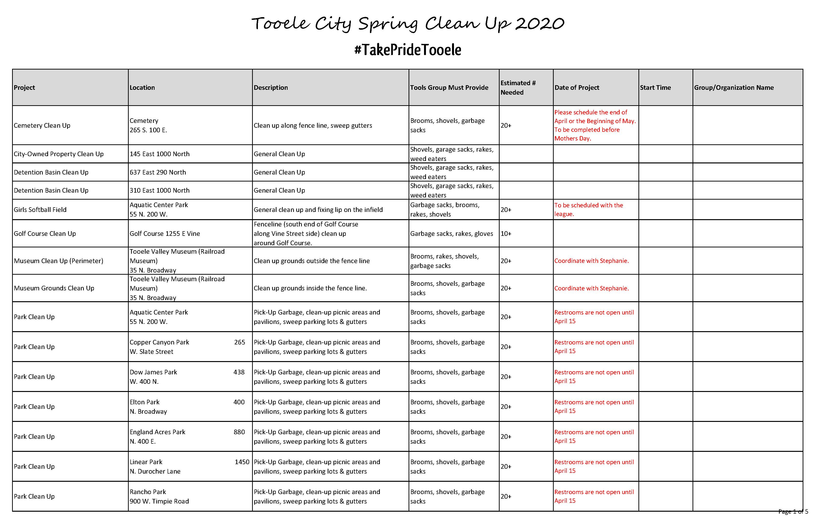 List of Projects for Spring Clean Up 2020