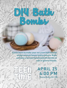 Teen Time: DIY Bath Bombs @ Tooele City Library | Tooele | Utah | United States