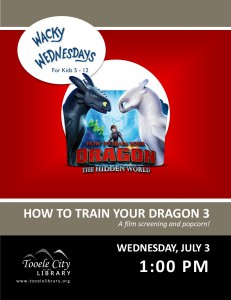 Film: How to Train your Dragon 3 (Wacky Wednesday) @ Tooele City Library | Tooele | Utah | United States