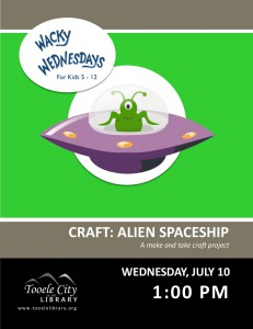 Craft: Alien Spaceship (Wacky Wednesday) @ Tooele City Library | Tooele | Utah | United States